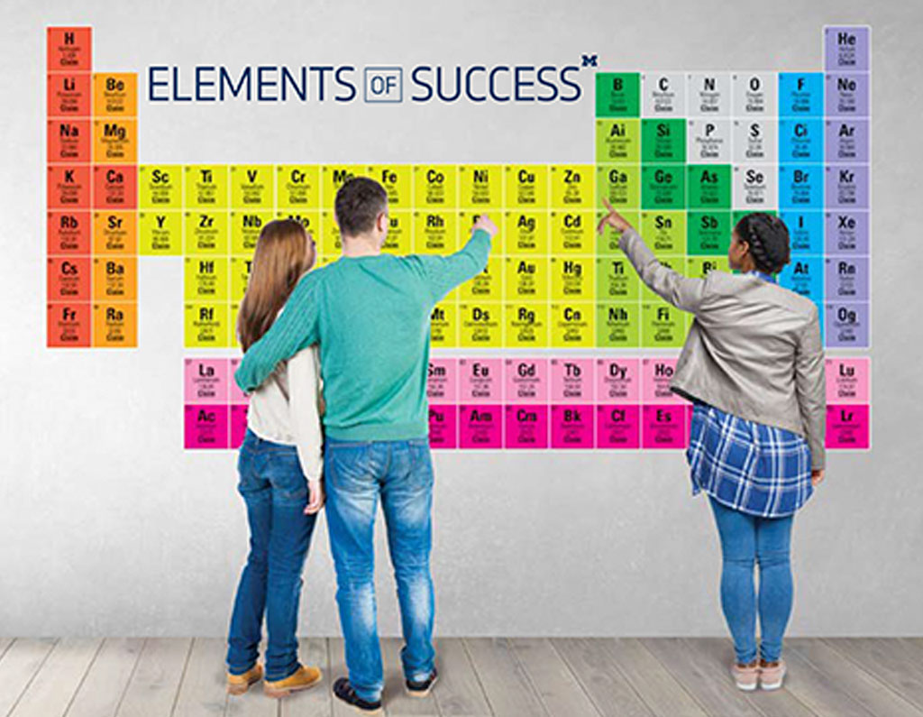 Periodic table of elements featuring donors who champion student success.