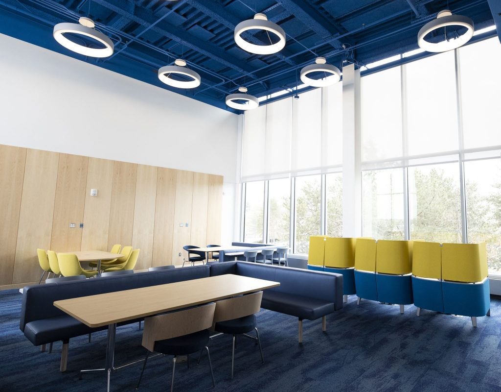inside student area of Murchie Science Building