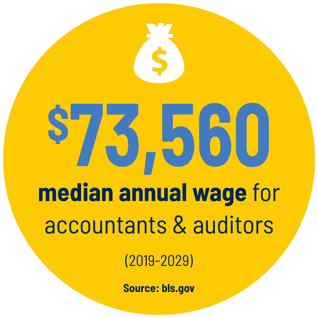 $73,560 median annual wage for accountants & auditors (2019-2029) stat. Source: bls.gov