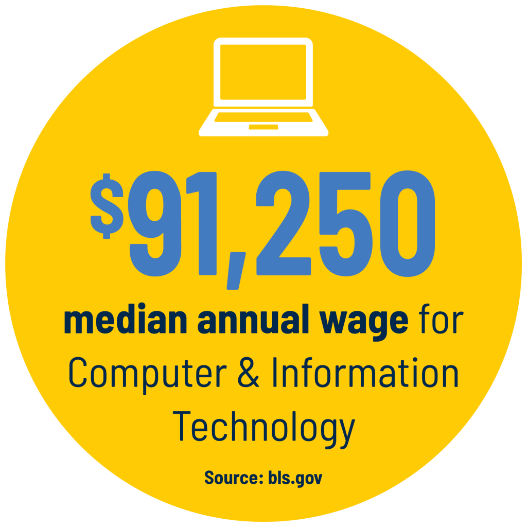 $91,250 median annual wage for Computer & Information Technology Source: bls.gov