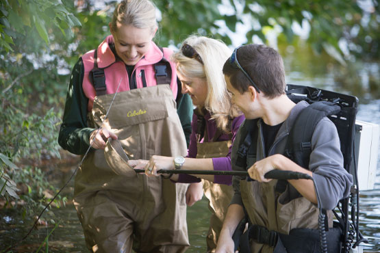 Faculty and two students looking for lamprey larvae samples in Flint River.