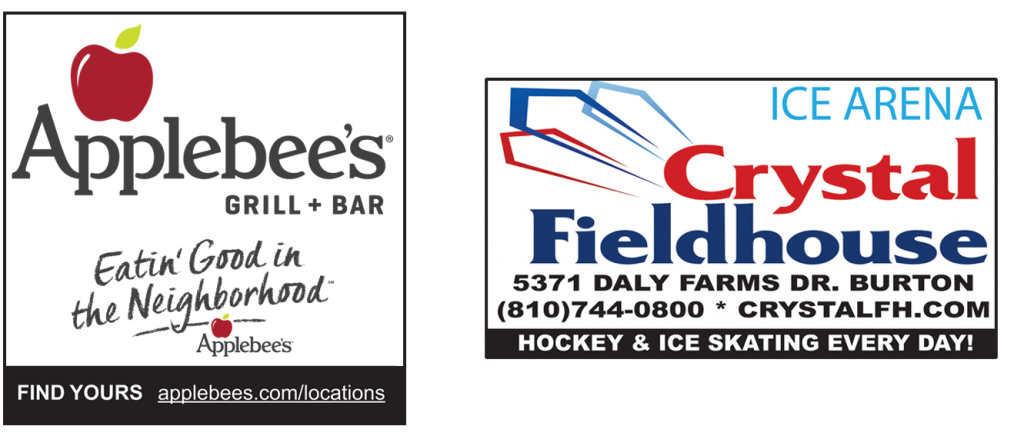 Applebee's logo and Crystal Fieldhouse logo