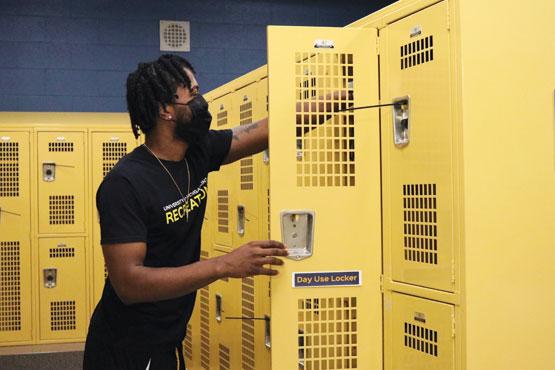 Student in locker room.